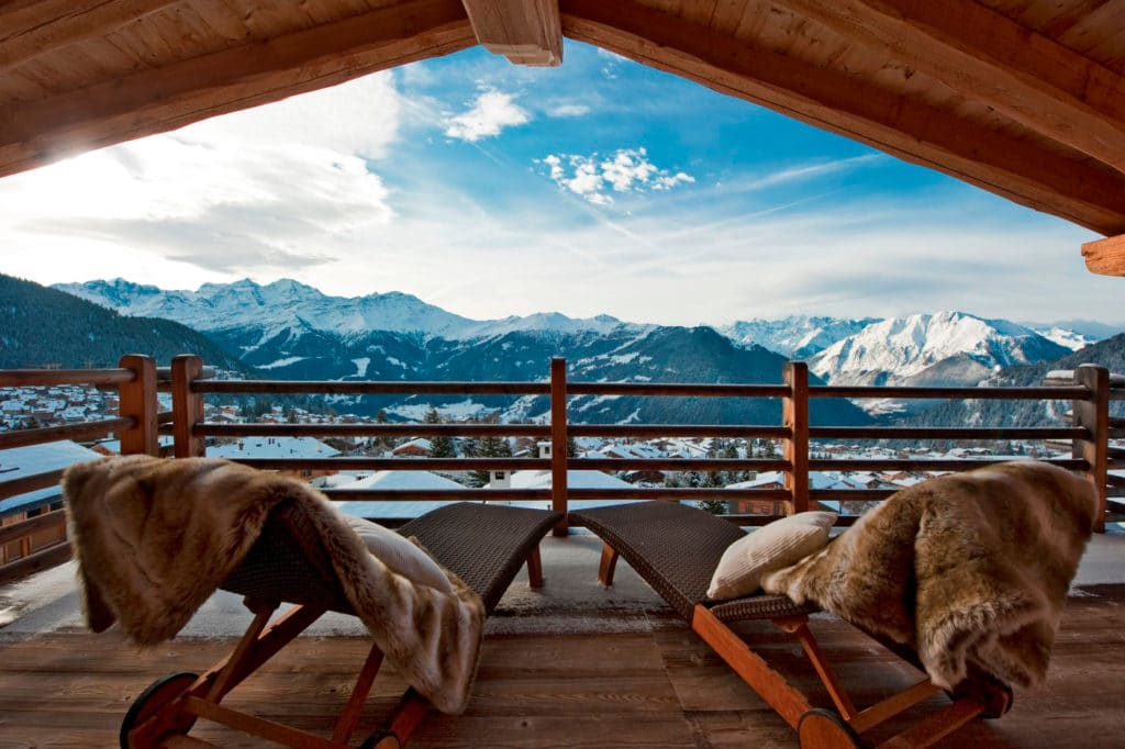 View of Verbier from catered chalet - Catered Ski Chalet Holidays in Verbier, Switzerland