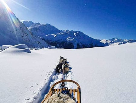 dog sled rides in Verbier ski resort
