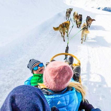 dog sledding kids and family activities in verbier