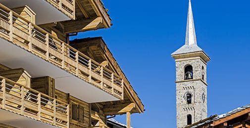 Historic church in ski resort of Tignes
